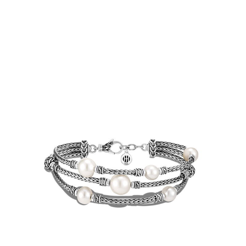Classic Chain Triple Row Bracelet in Silver with Pearl, White Fresh Water Pearl, large