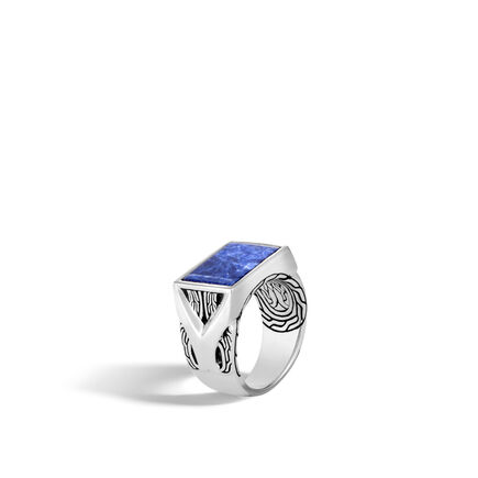 Asli Classic Chain Link Signet Ring in Silver with Gemstone