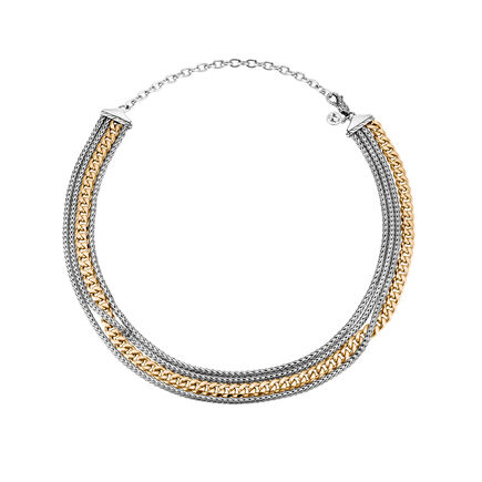AAxJH Classic Chain Multi Row Necklace in Silver and 18K Gold