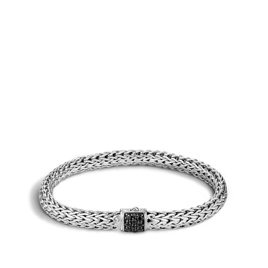Classic Chain 6.5MM Bracelet in Silver with Gemstone, Black Sapphire, large