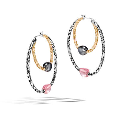 Classic Chain Hoop Earring in Silver and 18K Gold, Gemstone