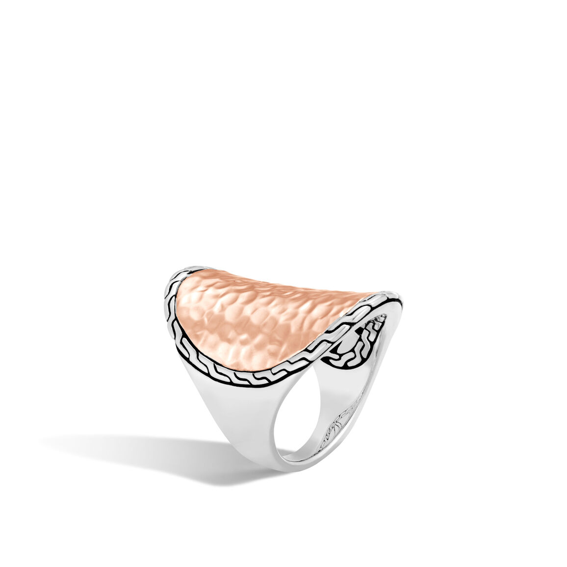 Classic Chain Ring, Silver, Hammered 18K Rose Gold