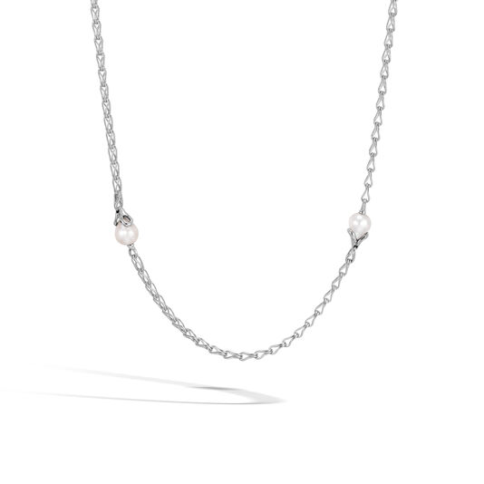 Bamboo Station Necklace in Silver with 11MM Pearl, White Fresh Water Pearl, large