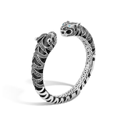Legends Macan Double Head Kick Cuff in Silver with Gemstone