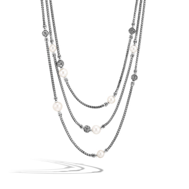 Classic Chain Multi Row Necklace in Silver with Pearl, White Fresh Water Pearl, large