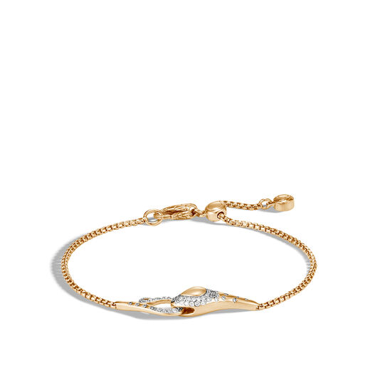 Legends Cobra Pull Through Braceletin 18K Gold with Diamonds, White Diamond, large