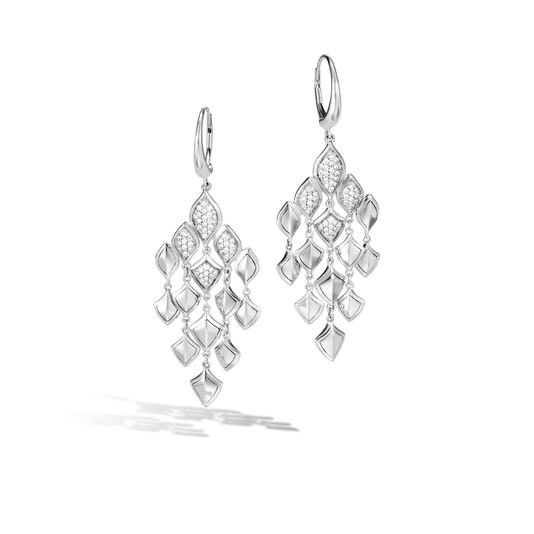 Legends Naga Chandelier Earring in Silver with Diamonds, White Diamond, large
