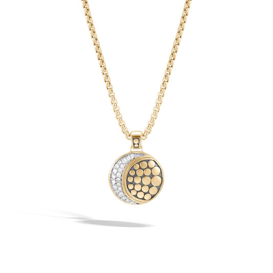 Dot Moon Phase Pendant Necklace in 18K Gold with  Diamonds, White Diamond, large