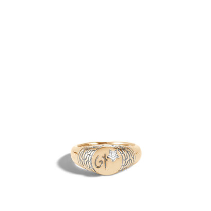 Classic Chain Pinky Signet Ring in 18K Gold with Diamond