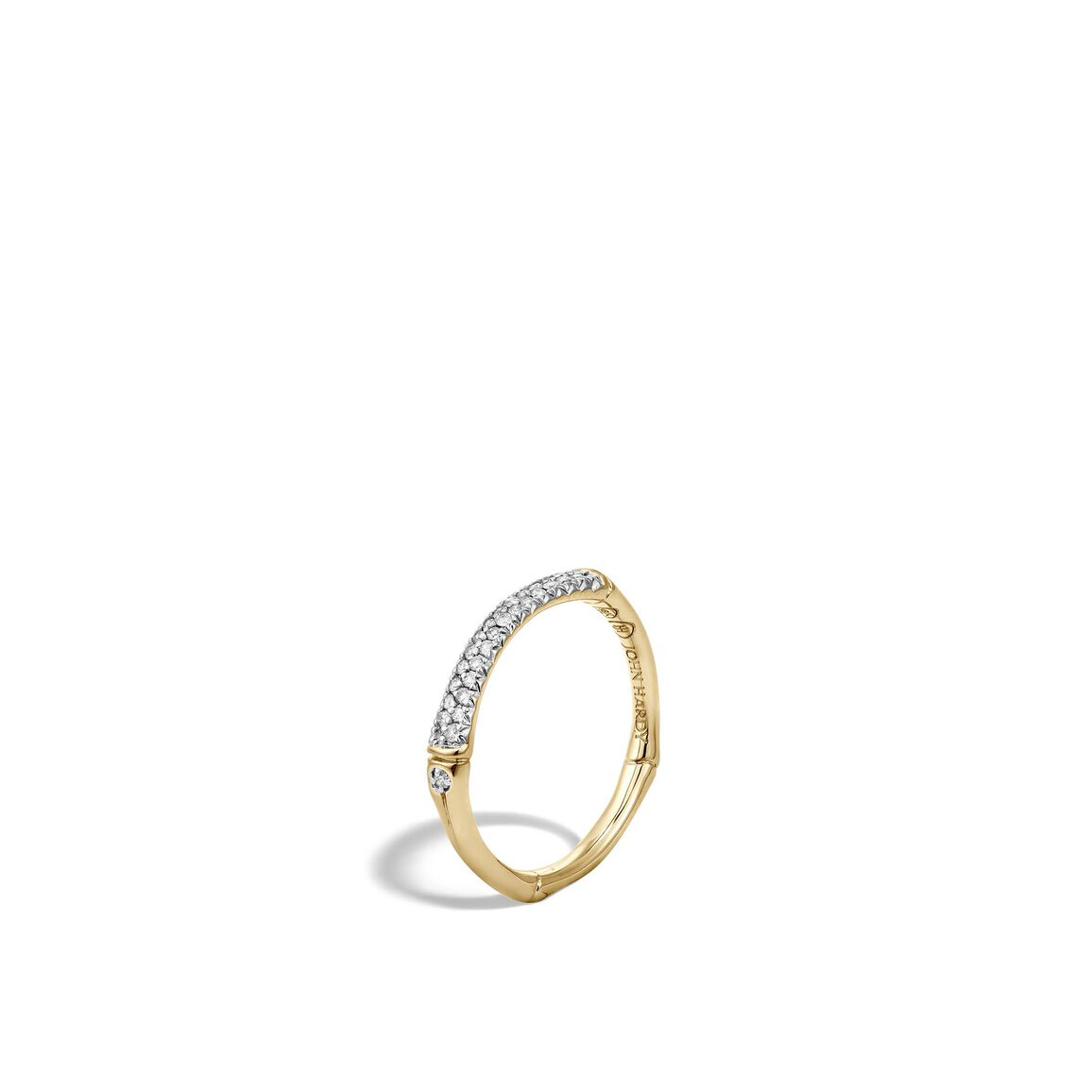 Bamboo 2.5MM Band Ring in 18K Gold with Diamonds