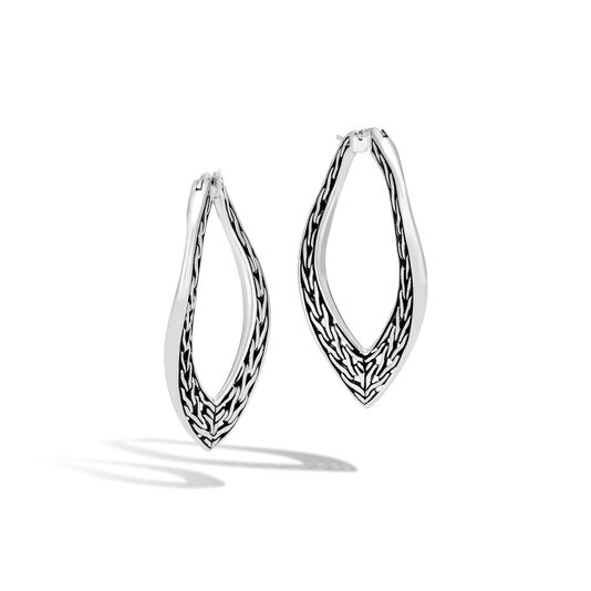 Classic Chain Wave Large Hoop Earring in Silver, , large