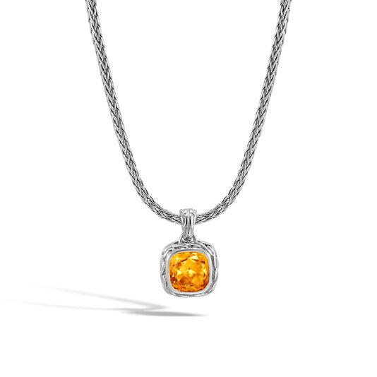 Classic Chain Magic Cut Pendant Necklace, Silver, 8MM Gem, Citrine, large