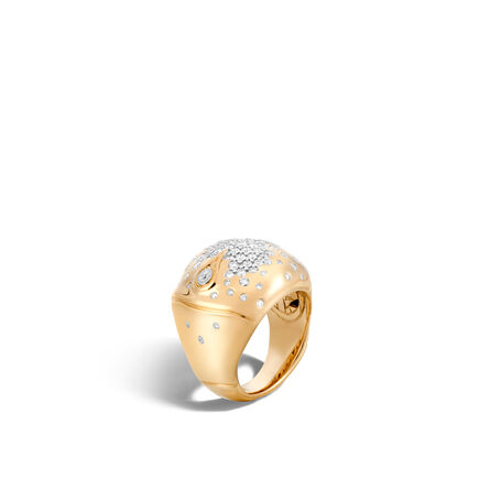 Bamboo Dome Ring in 18K Gold with Diamonds
