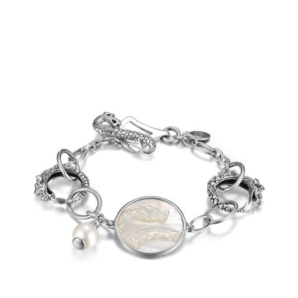Legends Naga Link Bracelet in Silver with Pearl