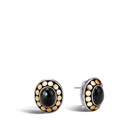 Dot Button Earring in Silver and 18K Gold, 9x7MM Gemstone, Black Onyx, large
