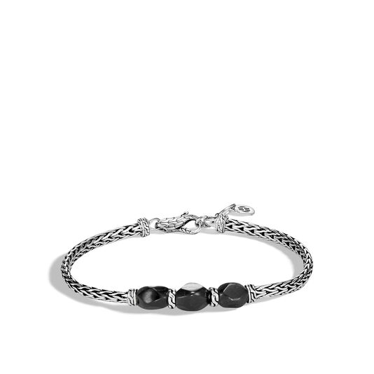 Classic Chain Pull Through Station Bracelet in Silver with Gem, Hypersthene, large