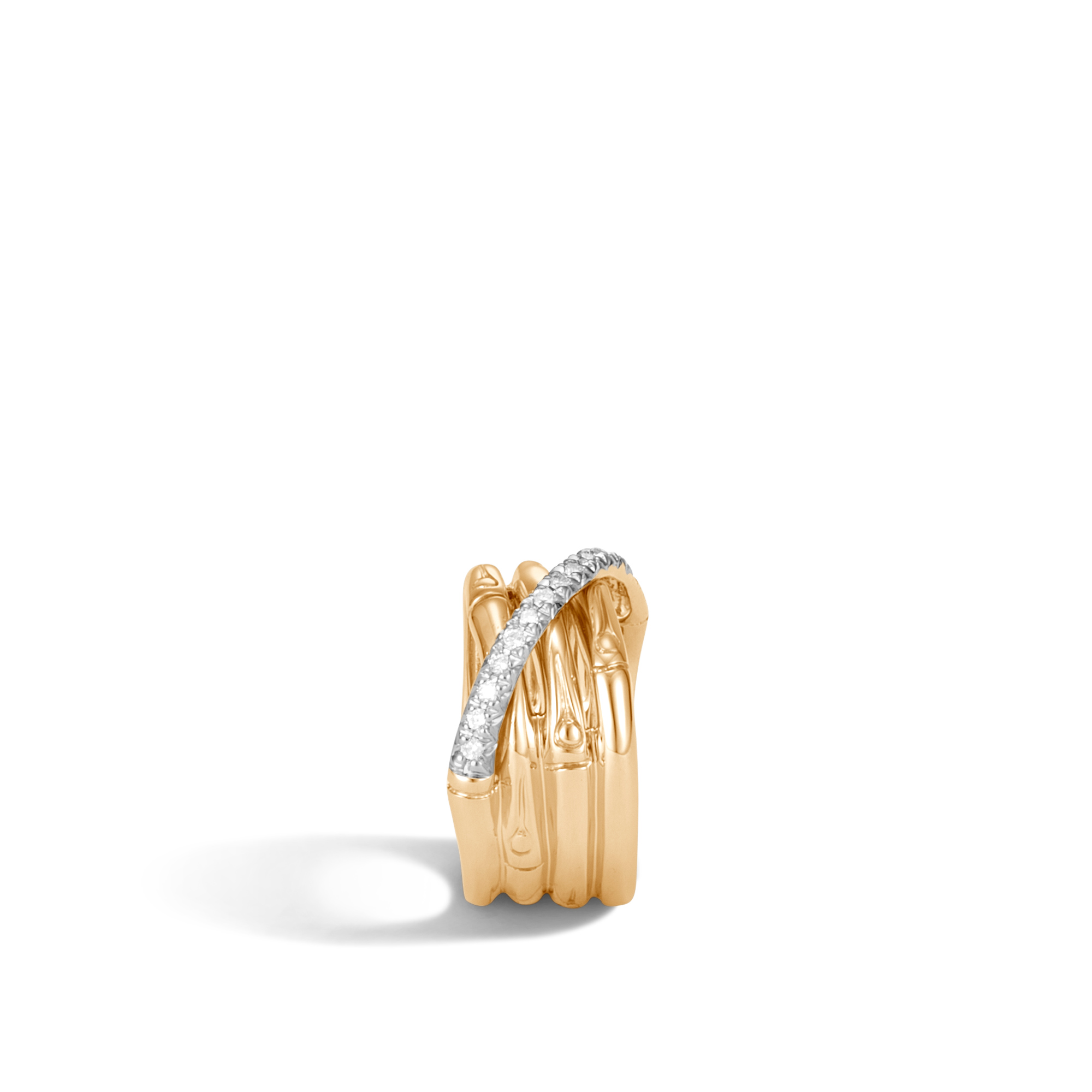 Bamboo 14MM Band Ring in 18K Gold with  Diamonds, White Diamond, large