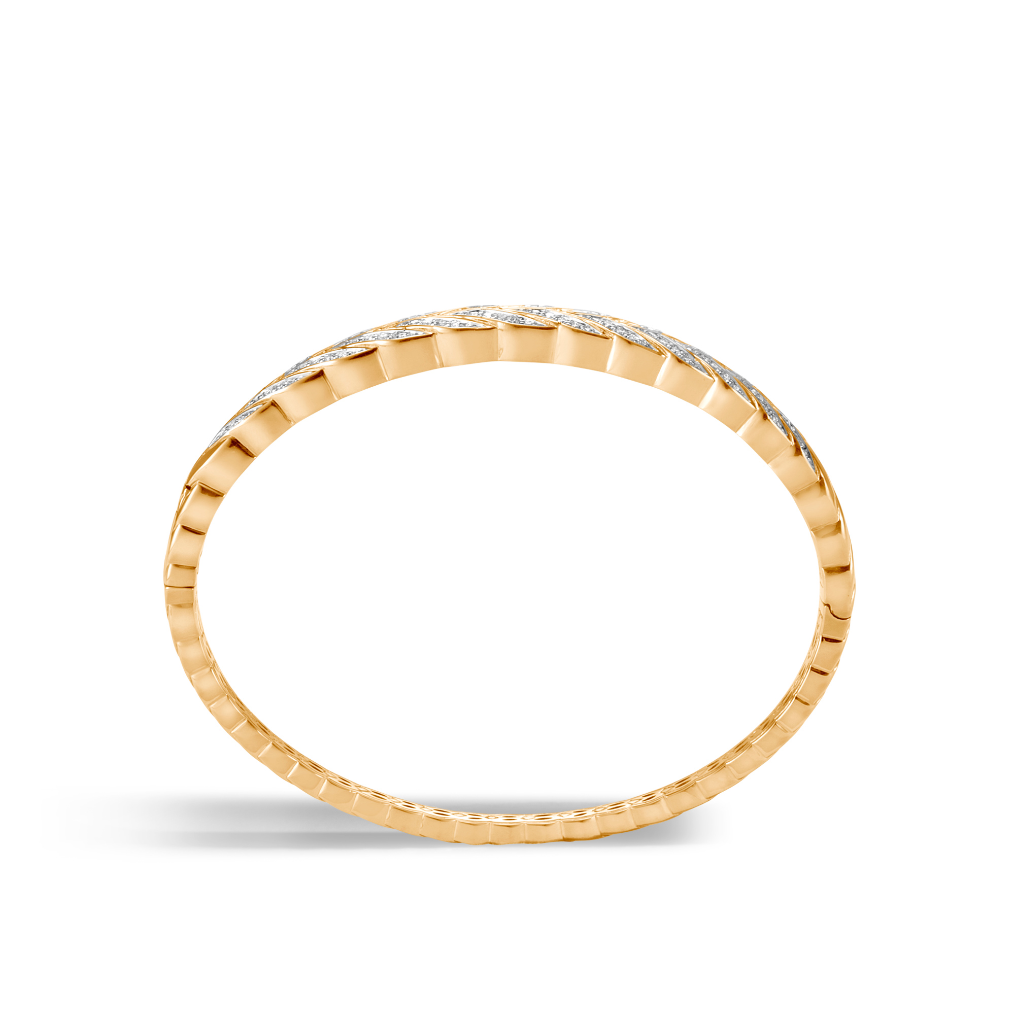 Modern Chain Bangle in 18K Gold with Diamonds, White Diamond, large