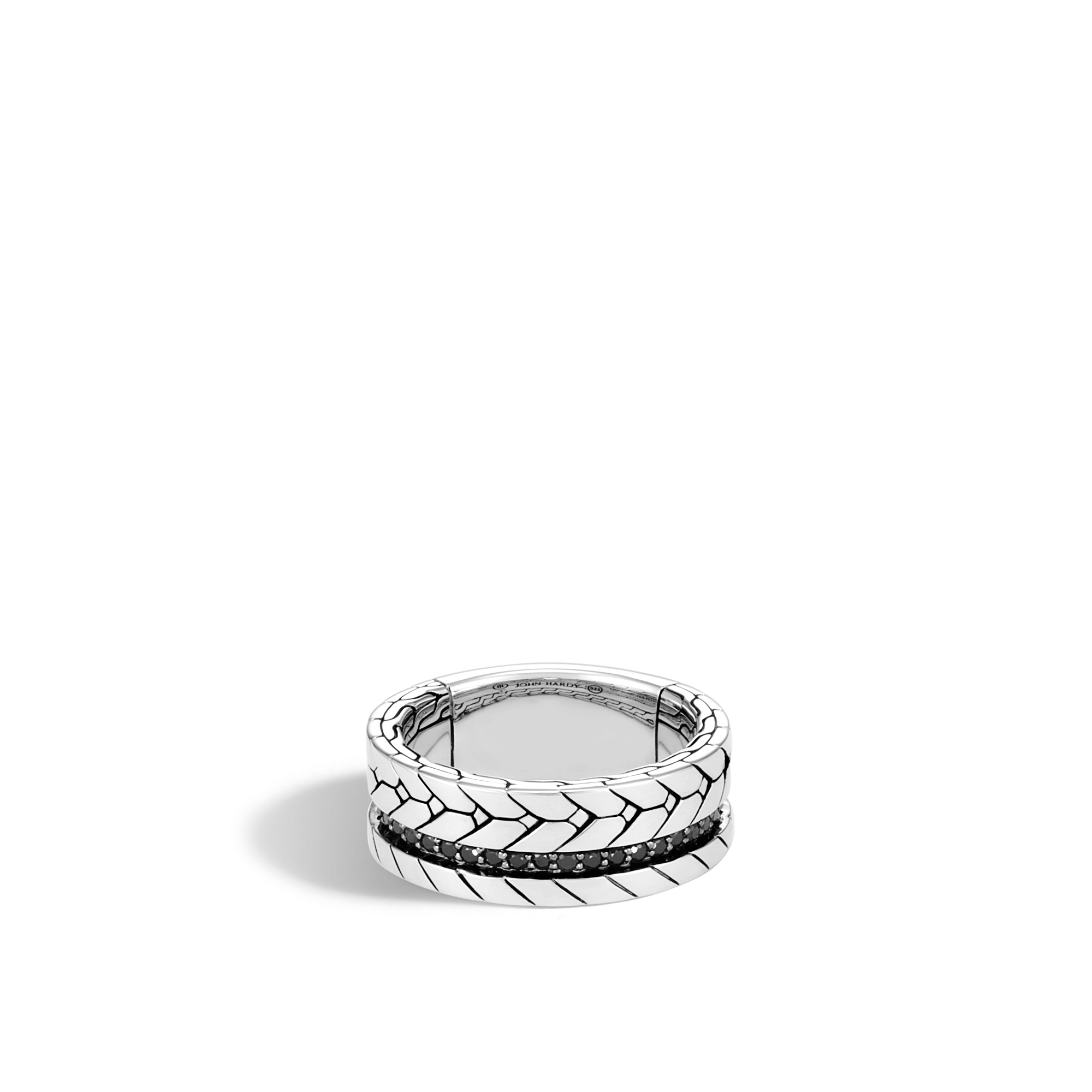 Modern Chain 9MM Band Ring in Silver with Gemstone, Black Spinel, large