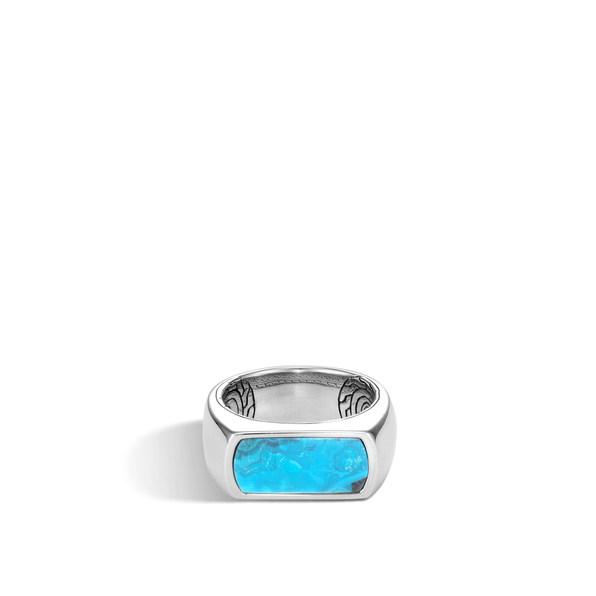 Classic Chain 9.5MM Band Ring in Silver with Gemstone, Chrysocolla, large