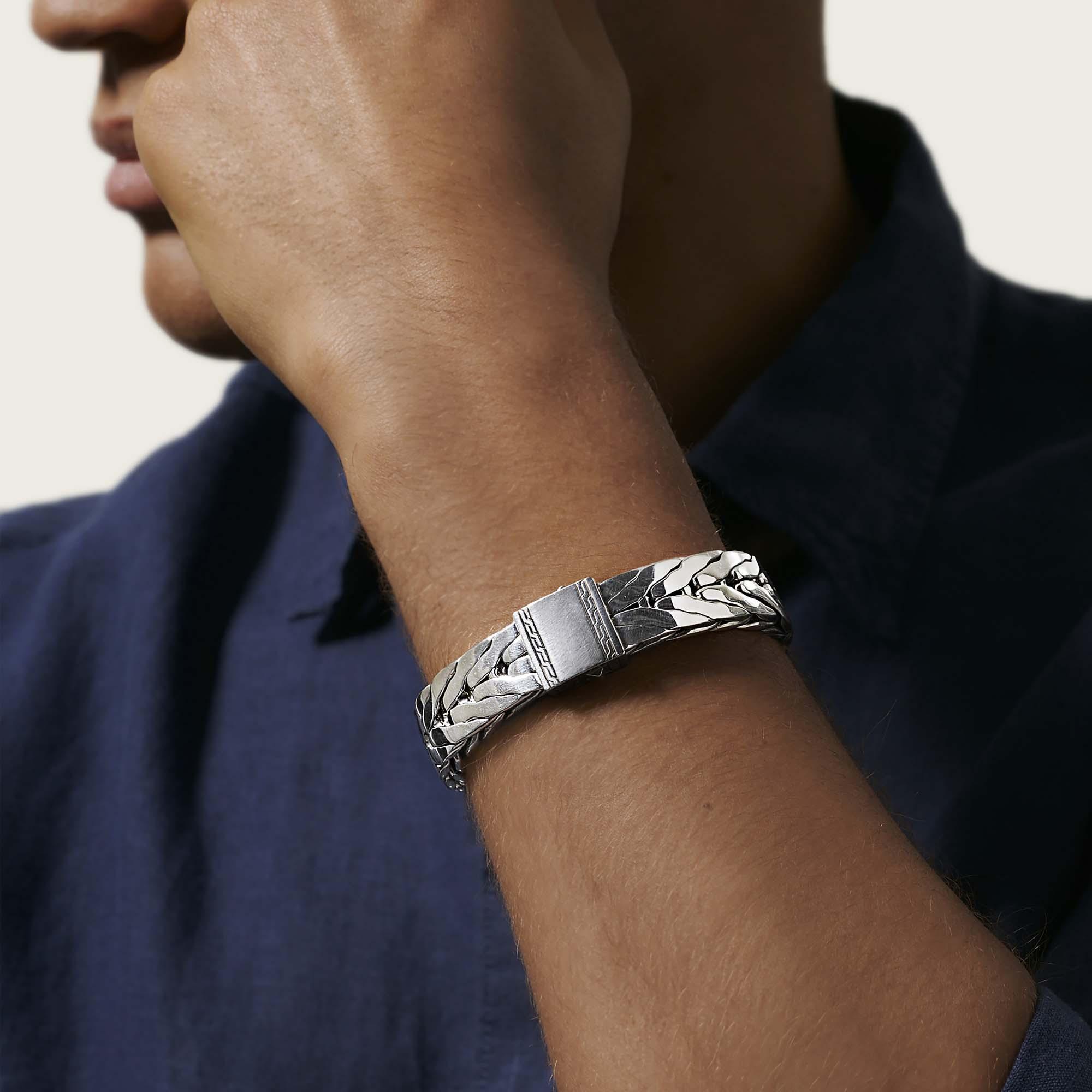 Modern Chain Bracelet in Silver, , modelview