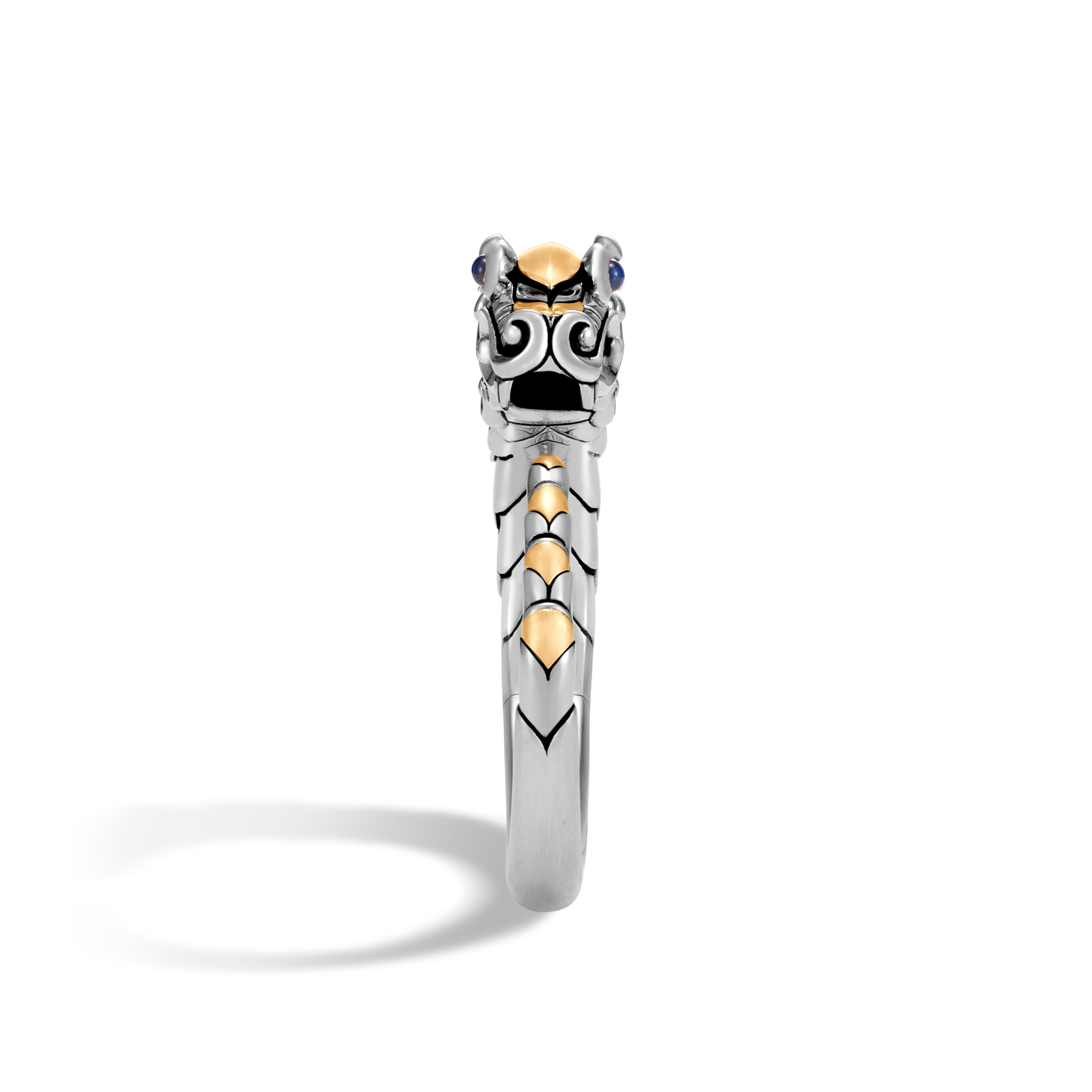 Legends Naga Kick Cuff in Brushed Silver and 18K Gold, Blue Sapphire, large