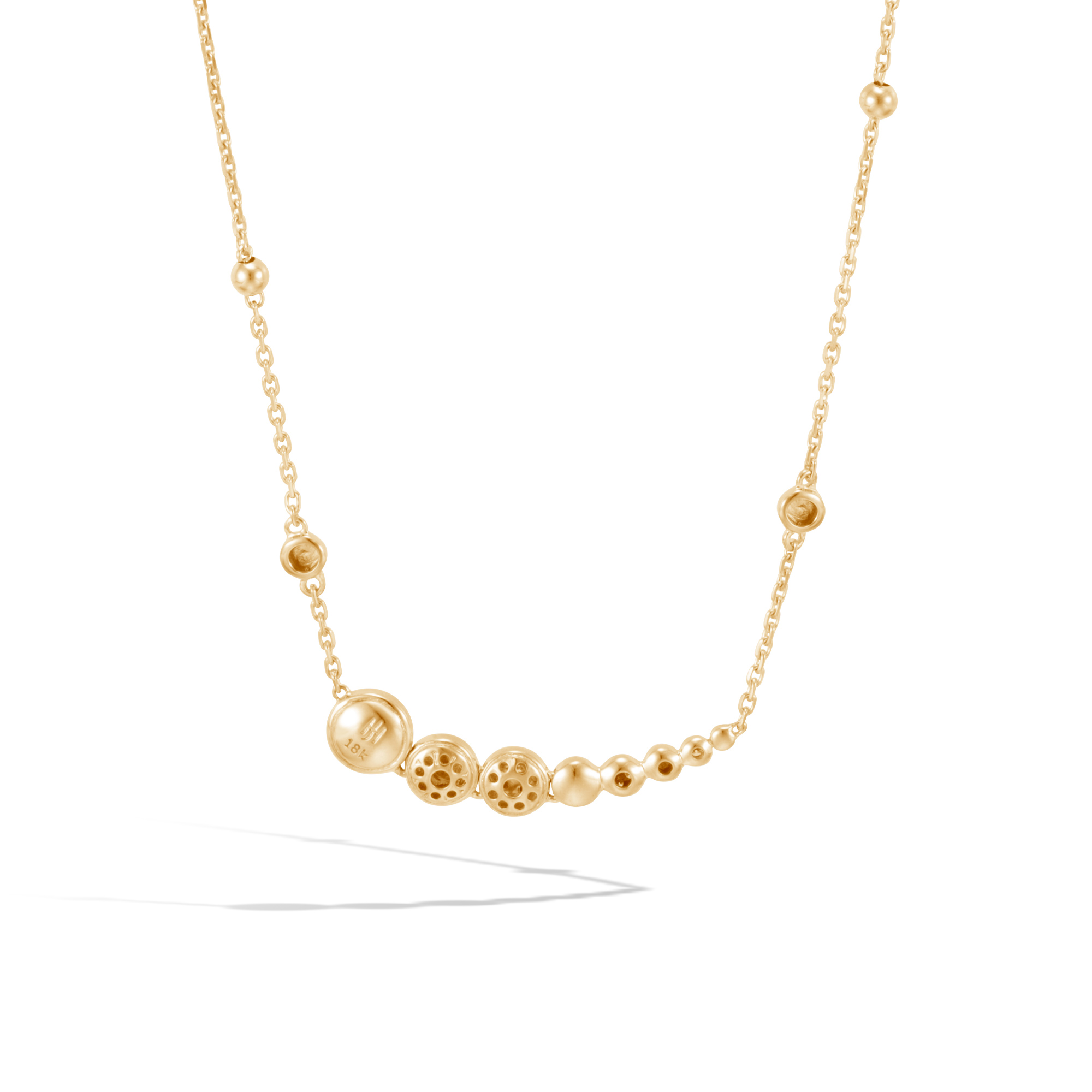 Dot Necklace in Hammered 18K Gold with Diamonds, White Diamond, large