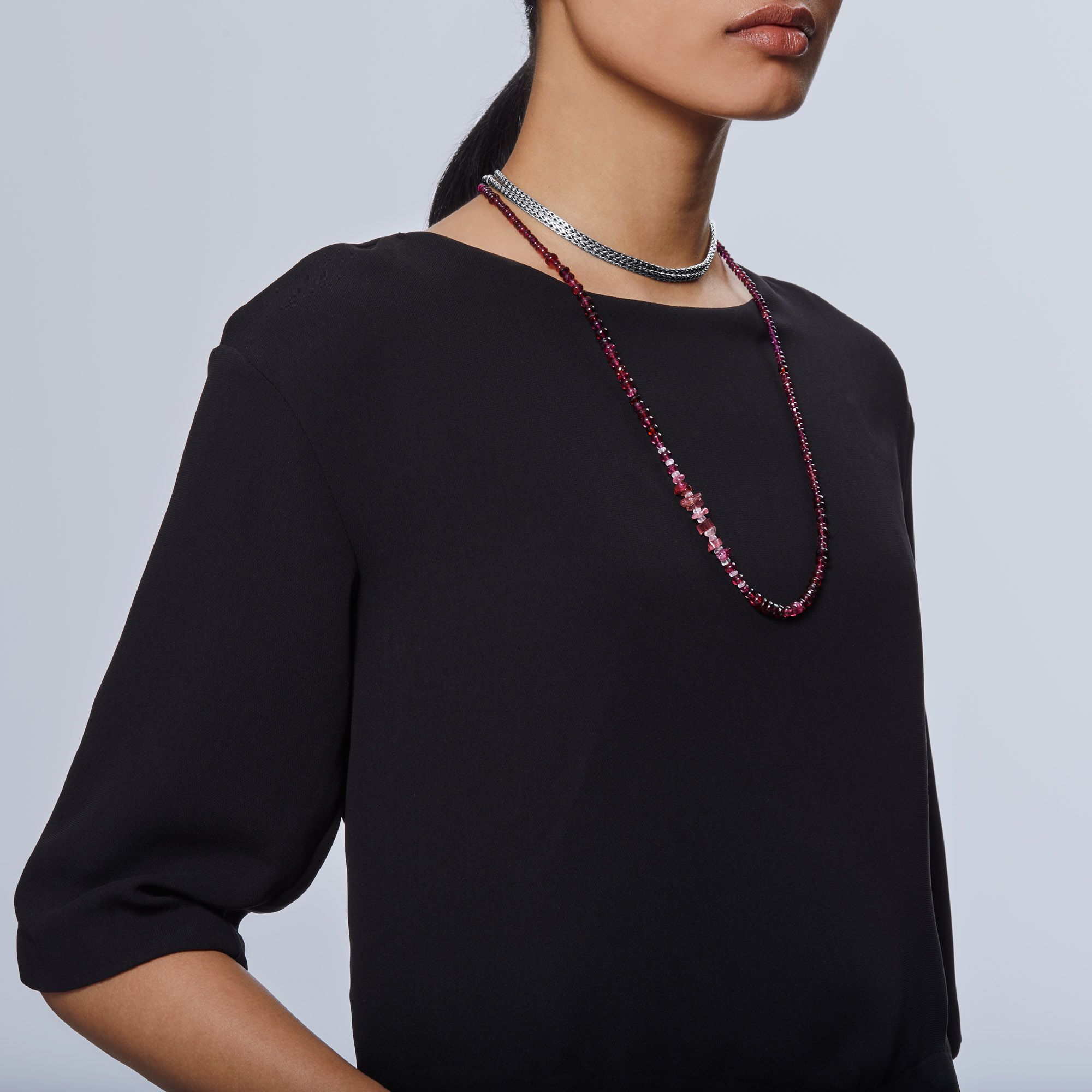Asli Classic Chain Link Station Necklace in Silver, Gemstone, Pink Tourmaline, large