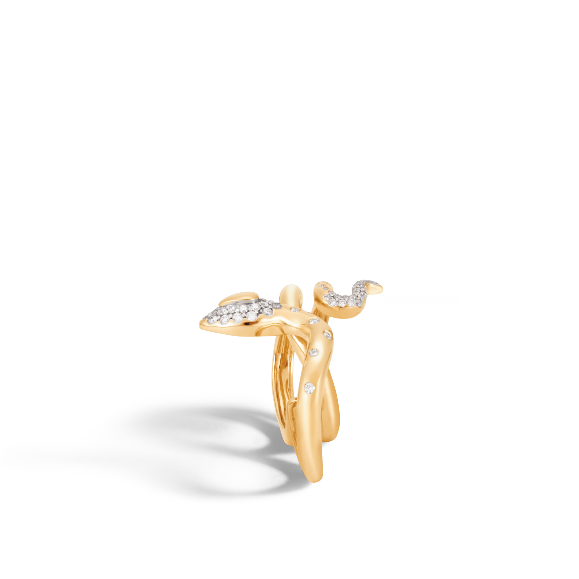 Legends Cobra Two Fingers Ring in 18K Gold with Diamonds, White Diamond, large