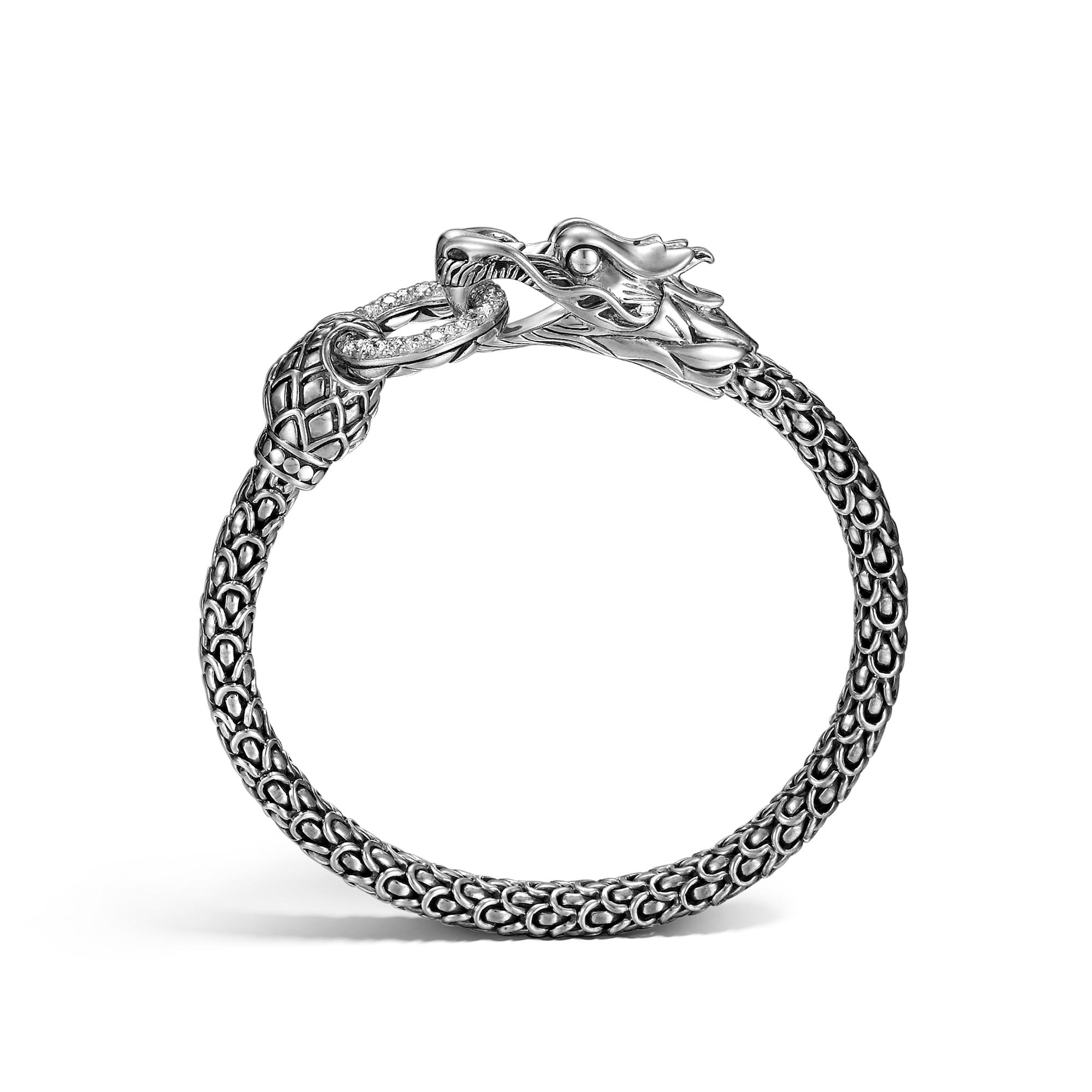 Legends Naga 6MM Station Bracelet in Silver with Diamonds, White Diamond, large