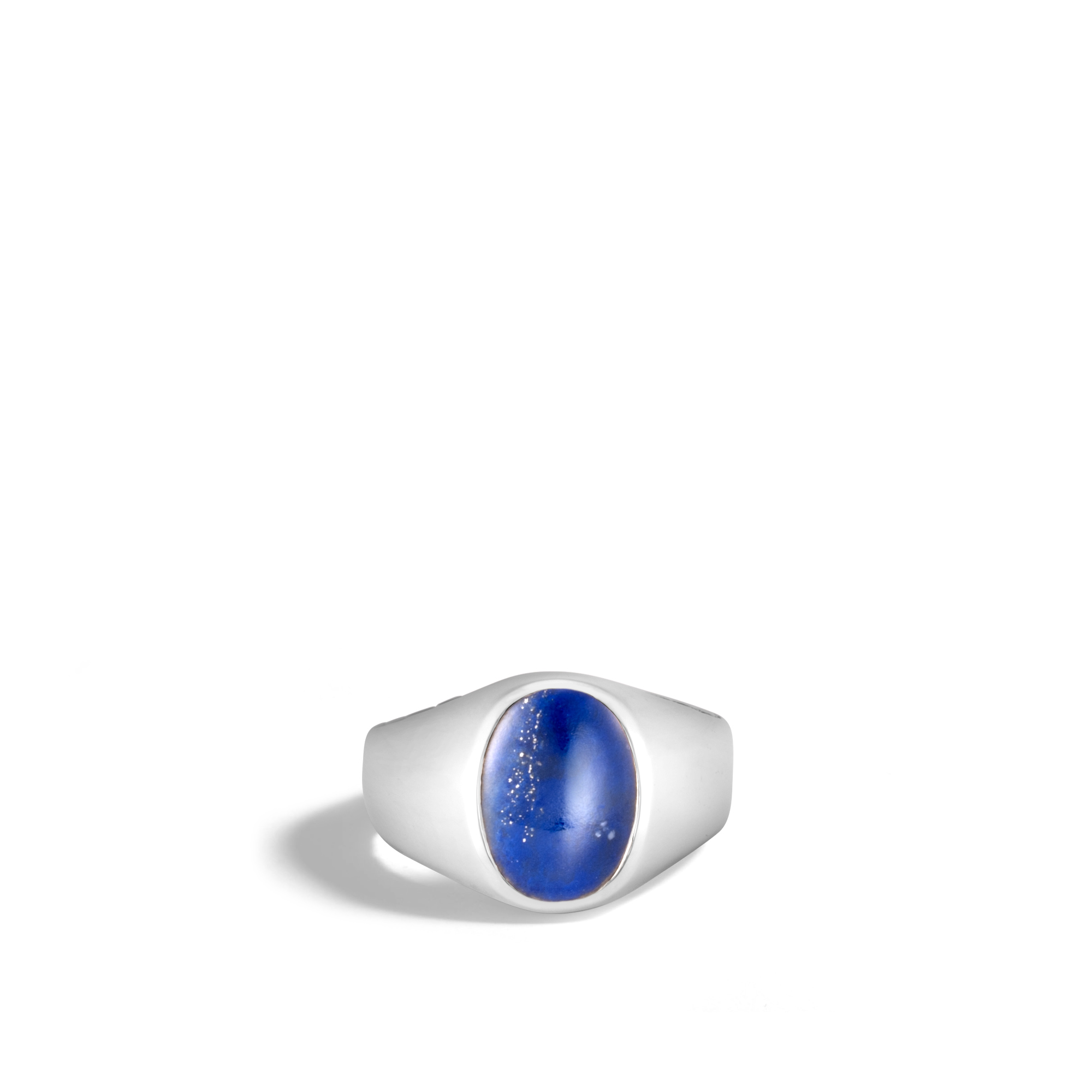 Classic Chain Oval Signet Ring in Silver with Gemstone, Lapis Lazuli, large
