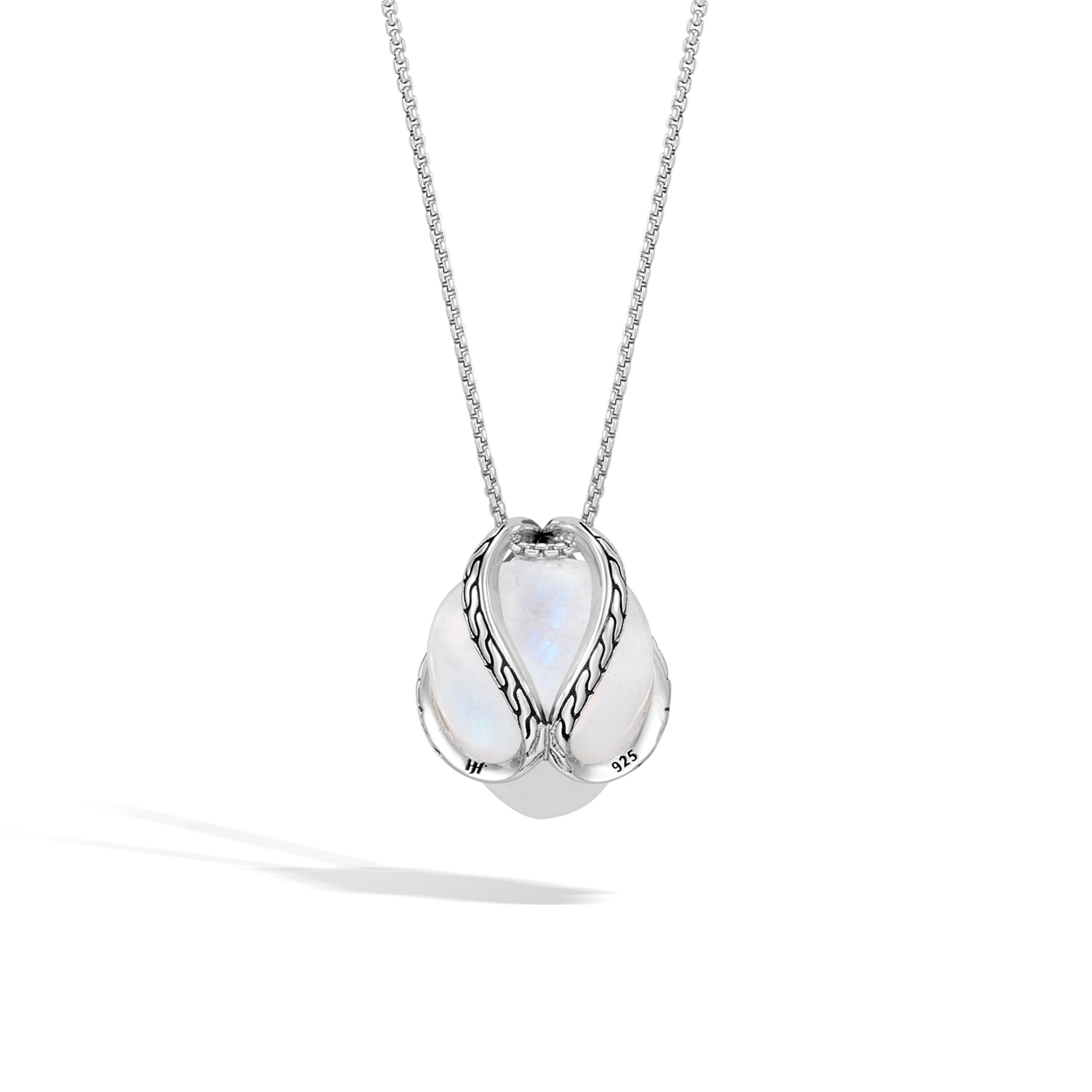 Classic Chain Pendant Necklace In Silver with 17MM Gemstone, Milky Rainbow Moonstone, large
