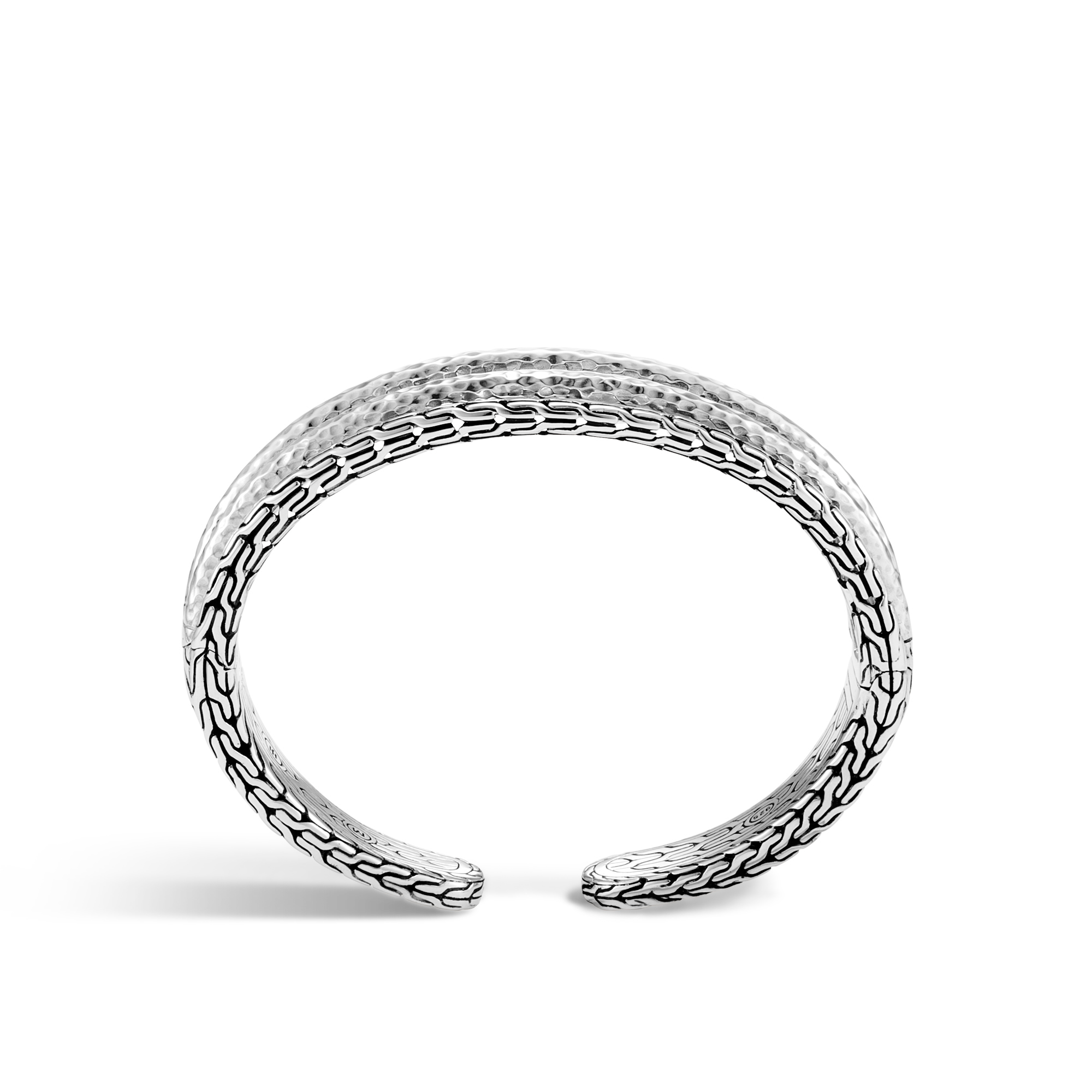Classic Chain 19MM Cuff in Hammered Silver, , large