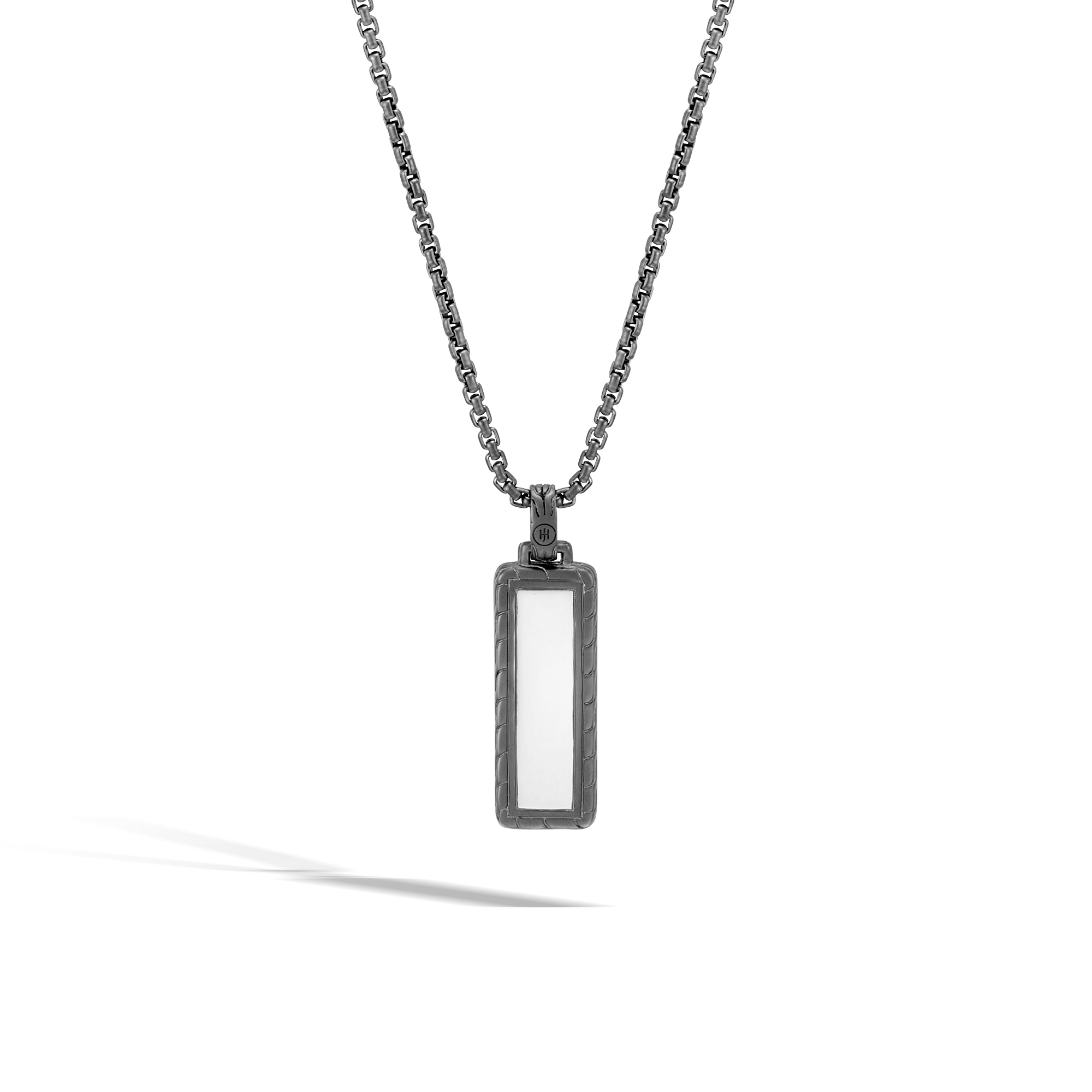 Classic Chain Dog Tag Pendant,  Blacked Silver with Gemstone, Black Sapphire, large