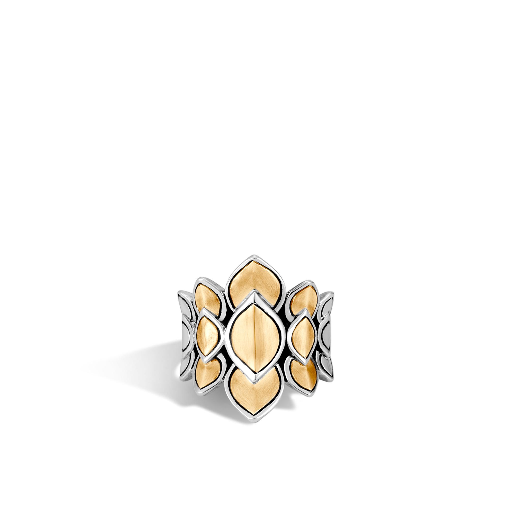Legends Naga Saddle Ring in Silver and Brushed 18K Gold, , large