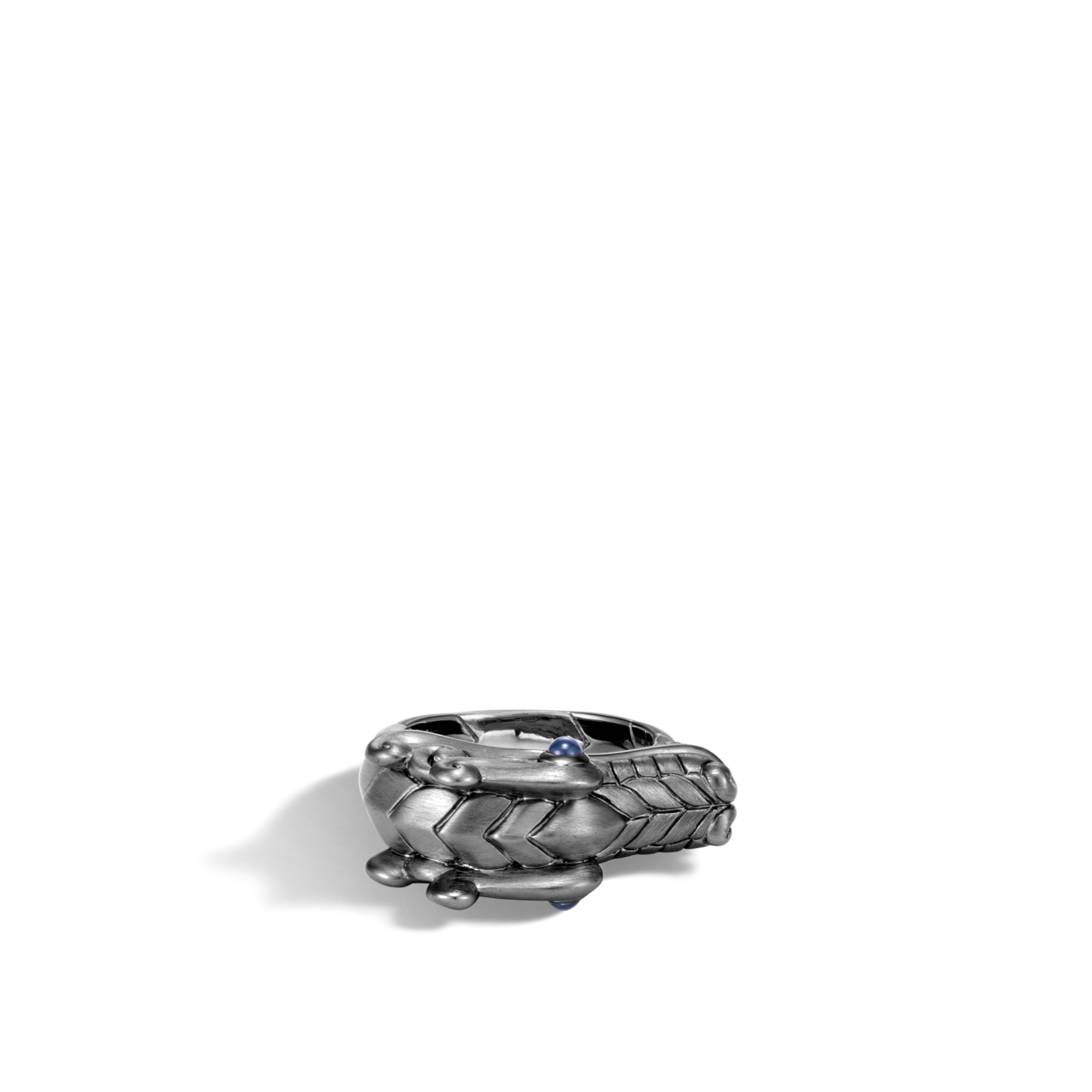 Legends Naga Ring in Blackened Silver, Blue Sapphire, large