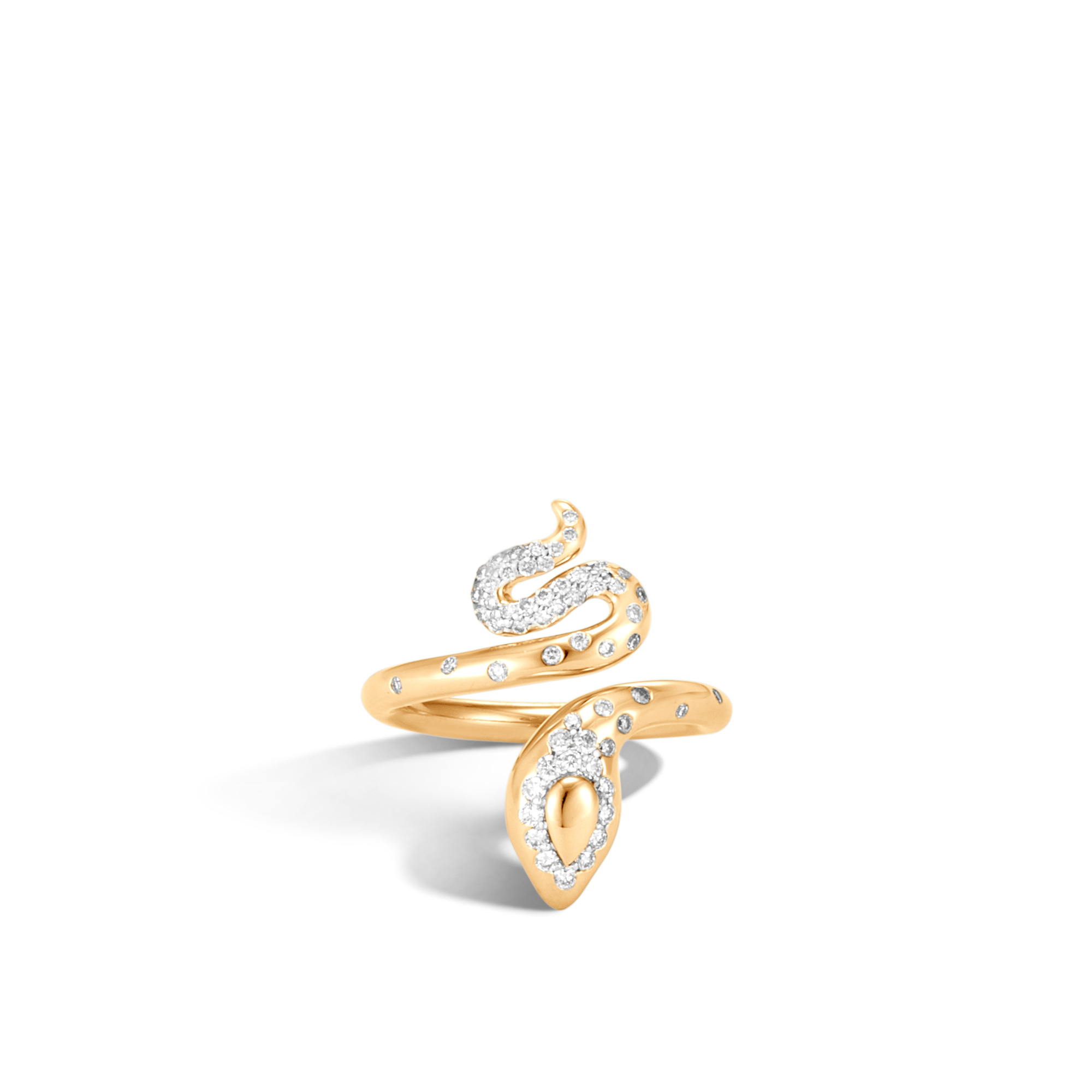 Legends Cobra Ring in 18K Gold with Diamonds, White Diamond, large