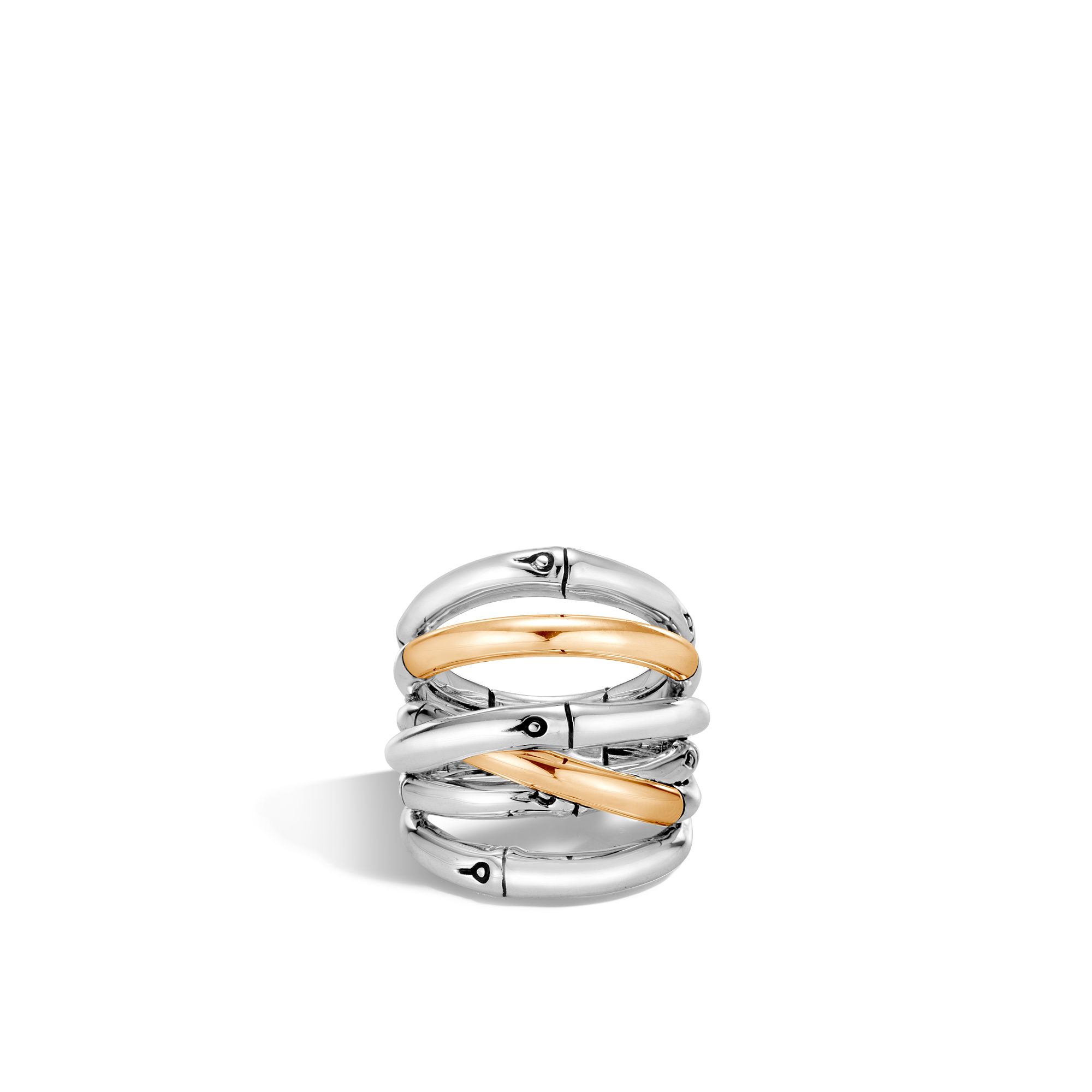 Bamboo Ring in Silver and 18K Gold, , large