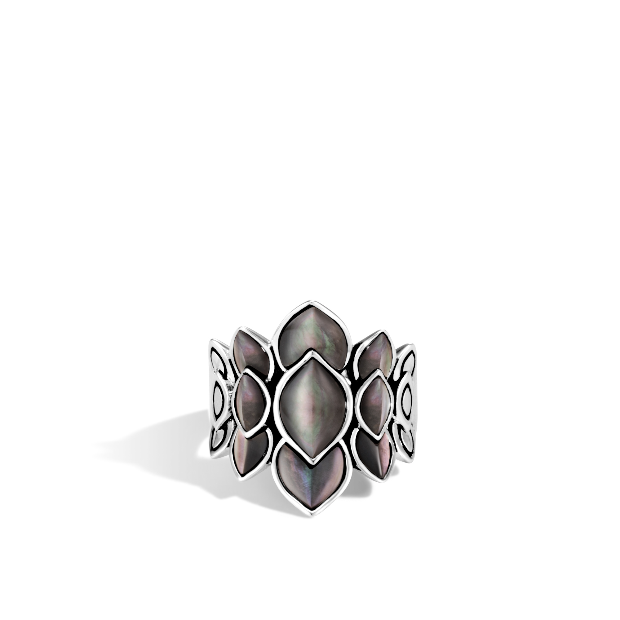 Legends Naga Saddle Ring in Silver with Gemstone, Grey Mother of Pearl, large