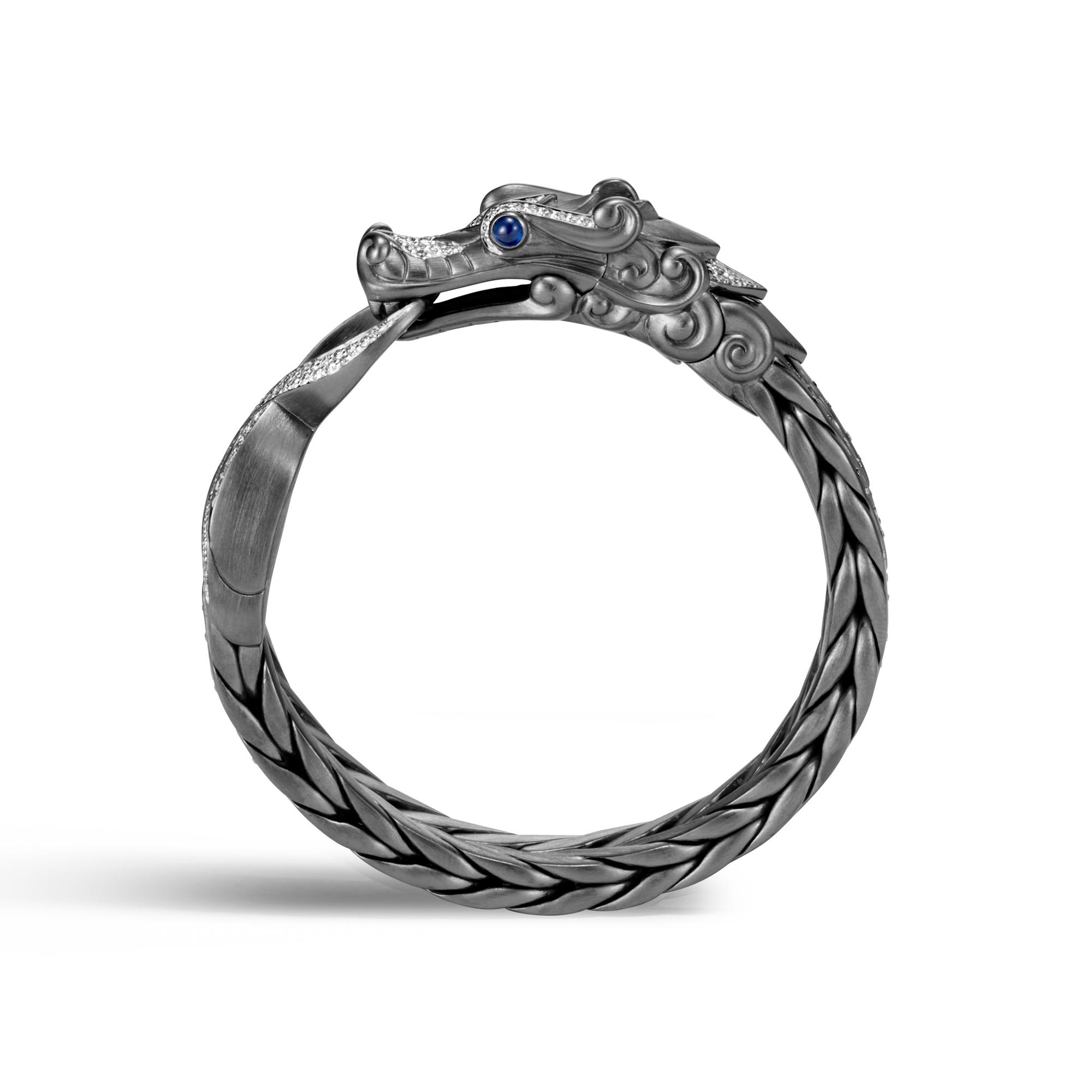 Legends Naga 16MM Station Bracelet in Blackened Silver, Dia, White Diamond, large