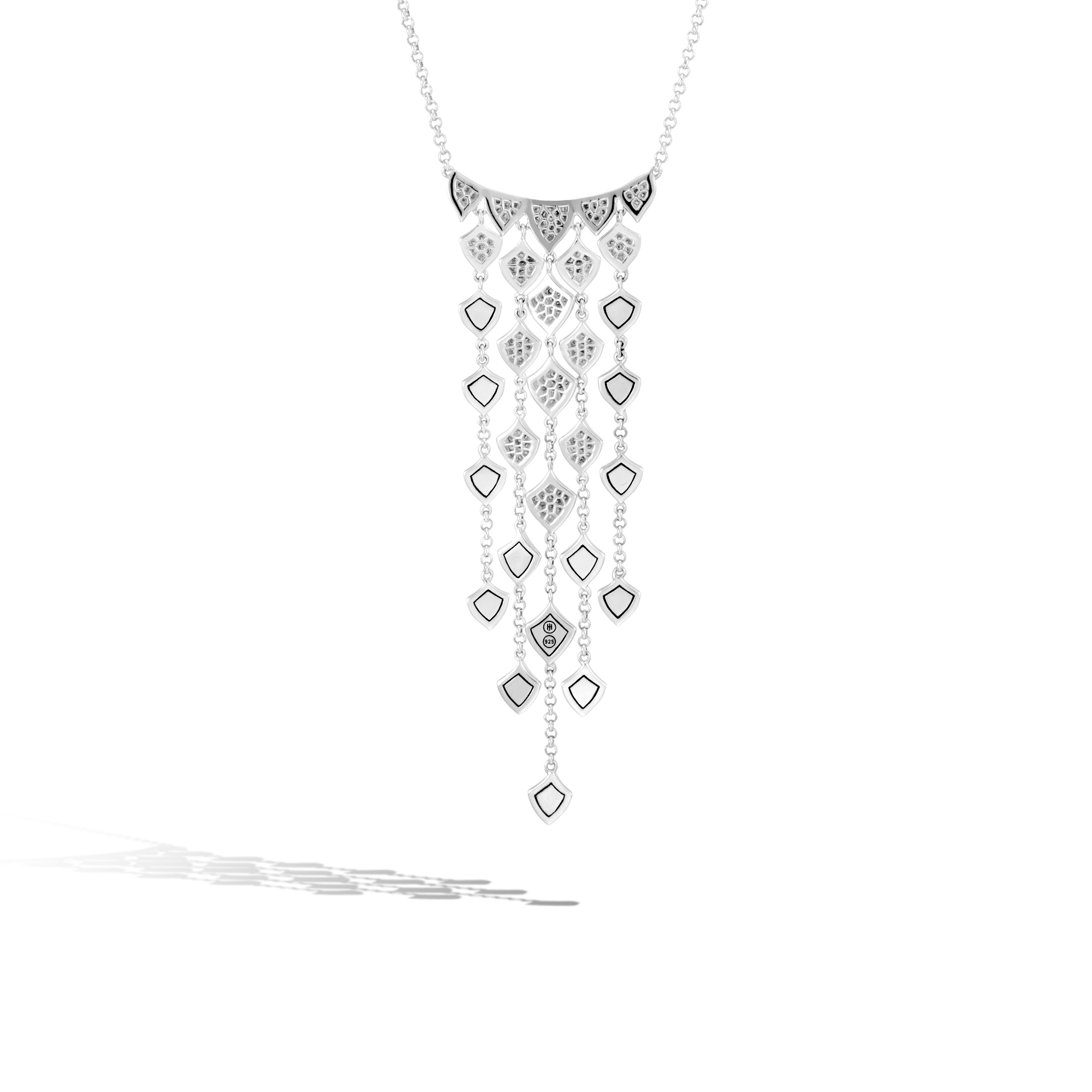 Legends Naga Necklace in Silver with Diamonds, White Diamond, large