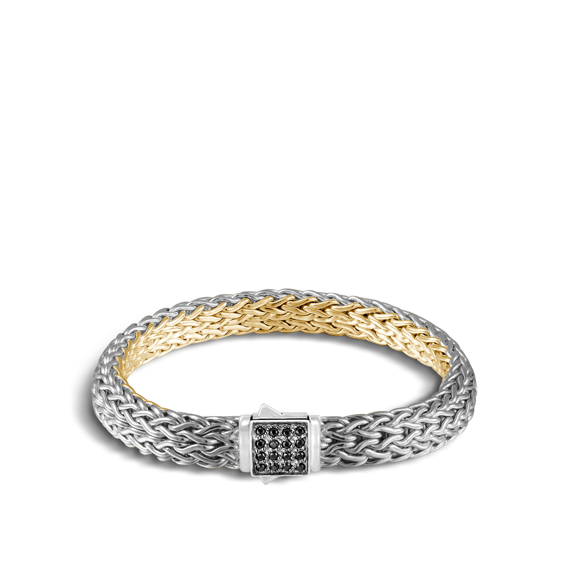 Reversible 7.5MM Bracelet in Silver, 18K Gold , Gemstone and Dia, Black Sapphire, large