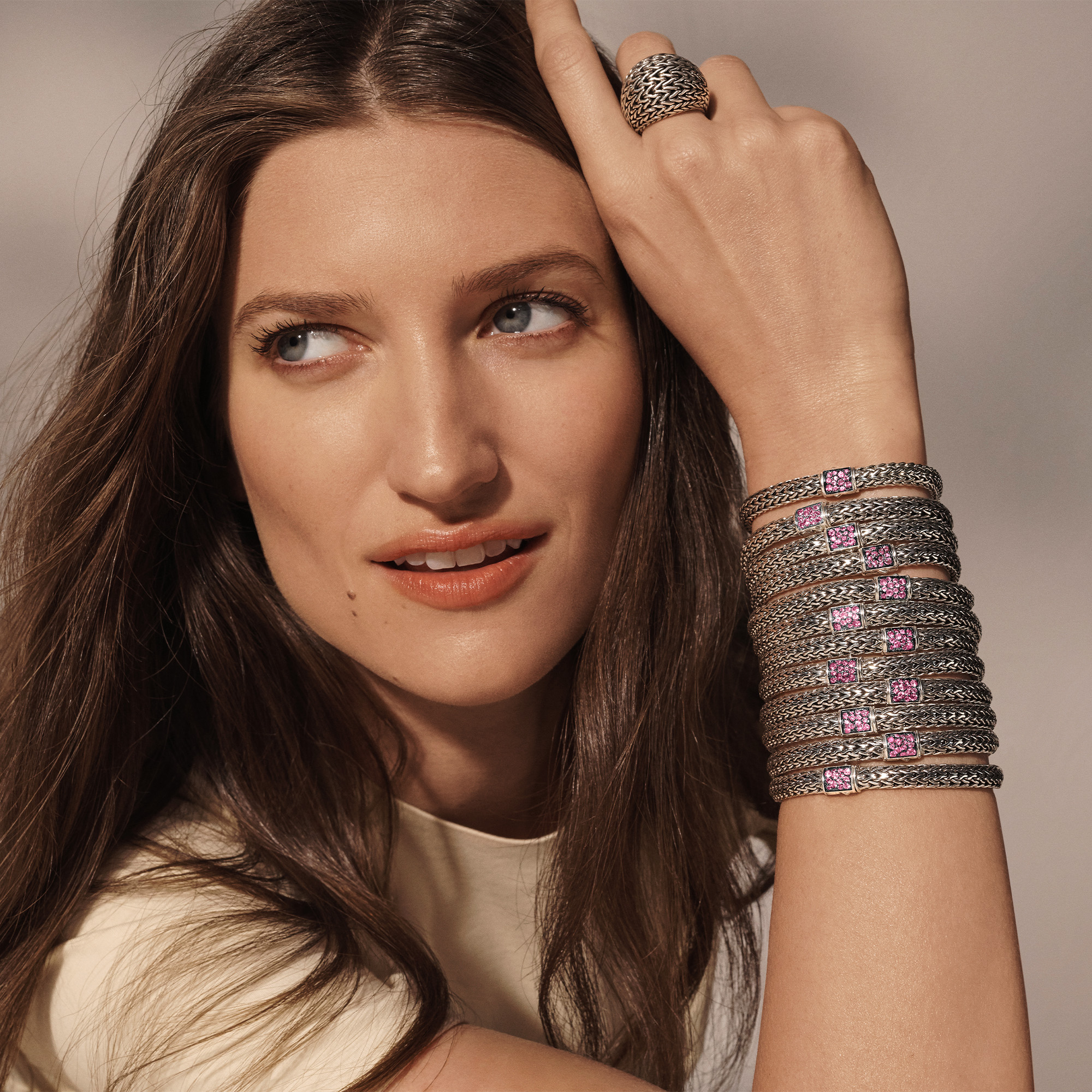 Classic Chain Pavé Icon Bracelet, Pink Spinel, modelview