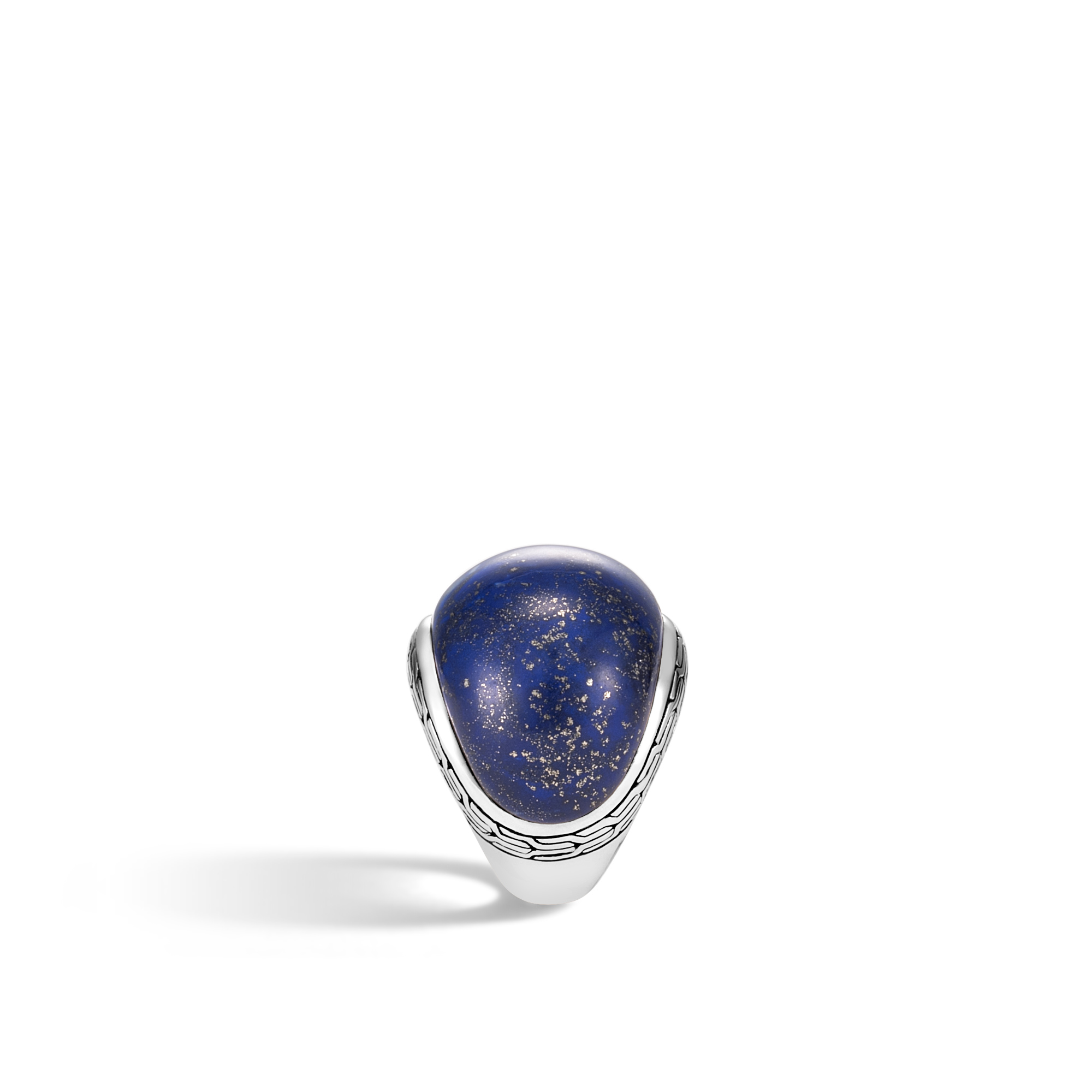 Classic Chain 22MM Dome Ring in Silver with Gemstone, Lapis Lazuli, large