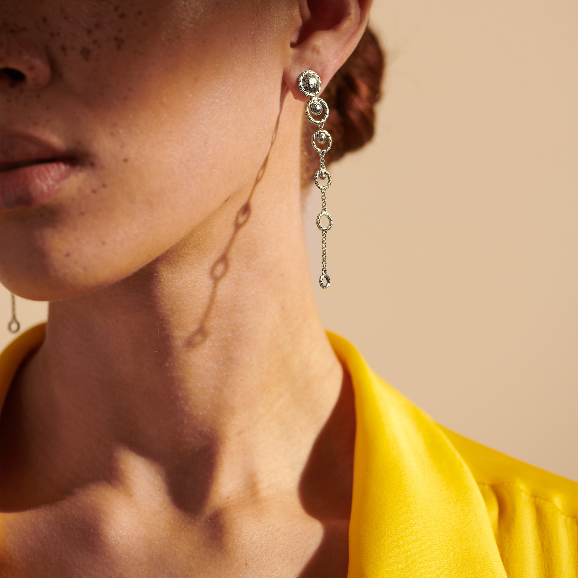 Dot Drop Earring in Hammered Silver, , modelview