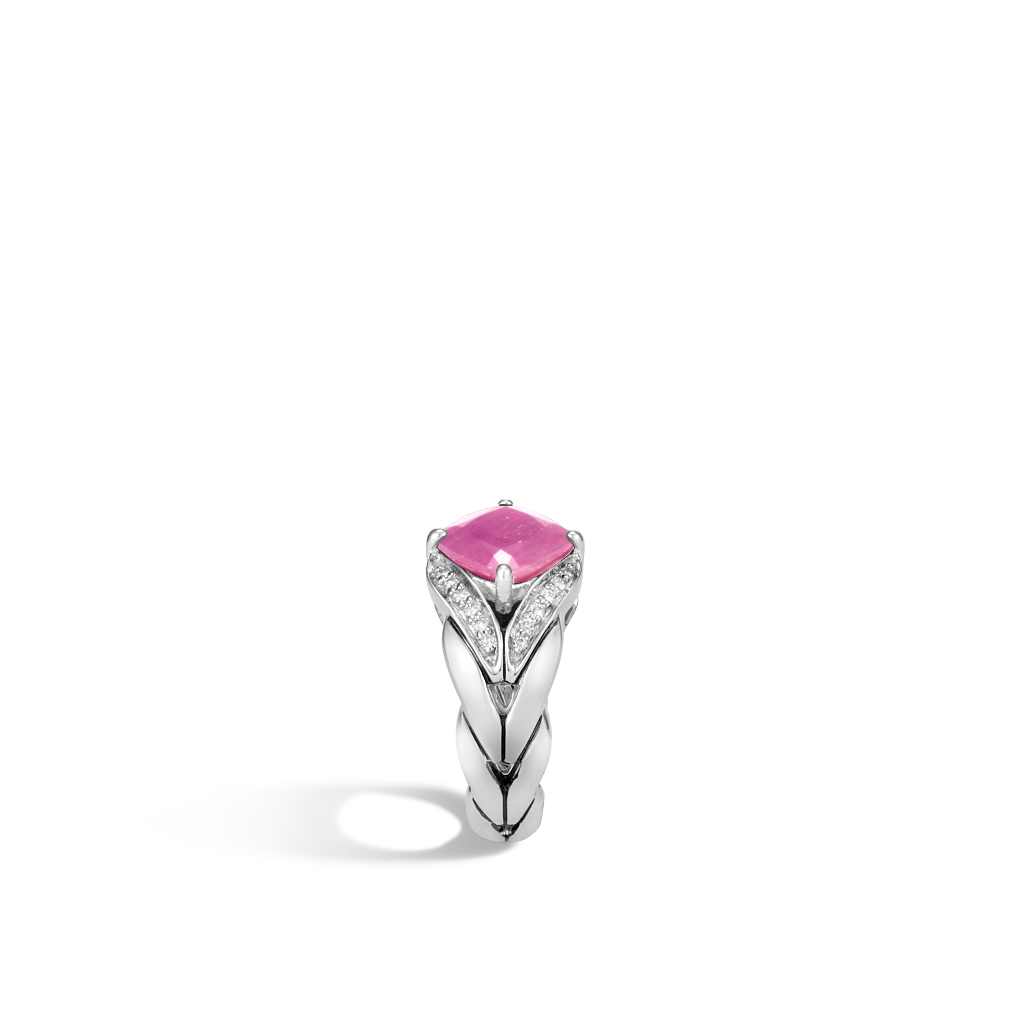 Modern Chain Magic Cut Ring, Silver, 9MM Gemstone, Diamonds, Pink Sheen Sapphire, large