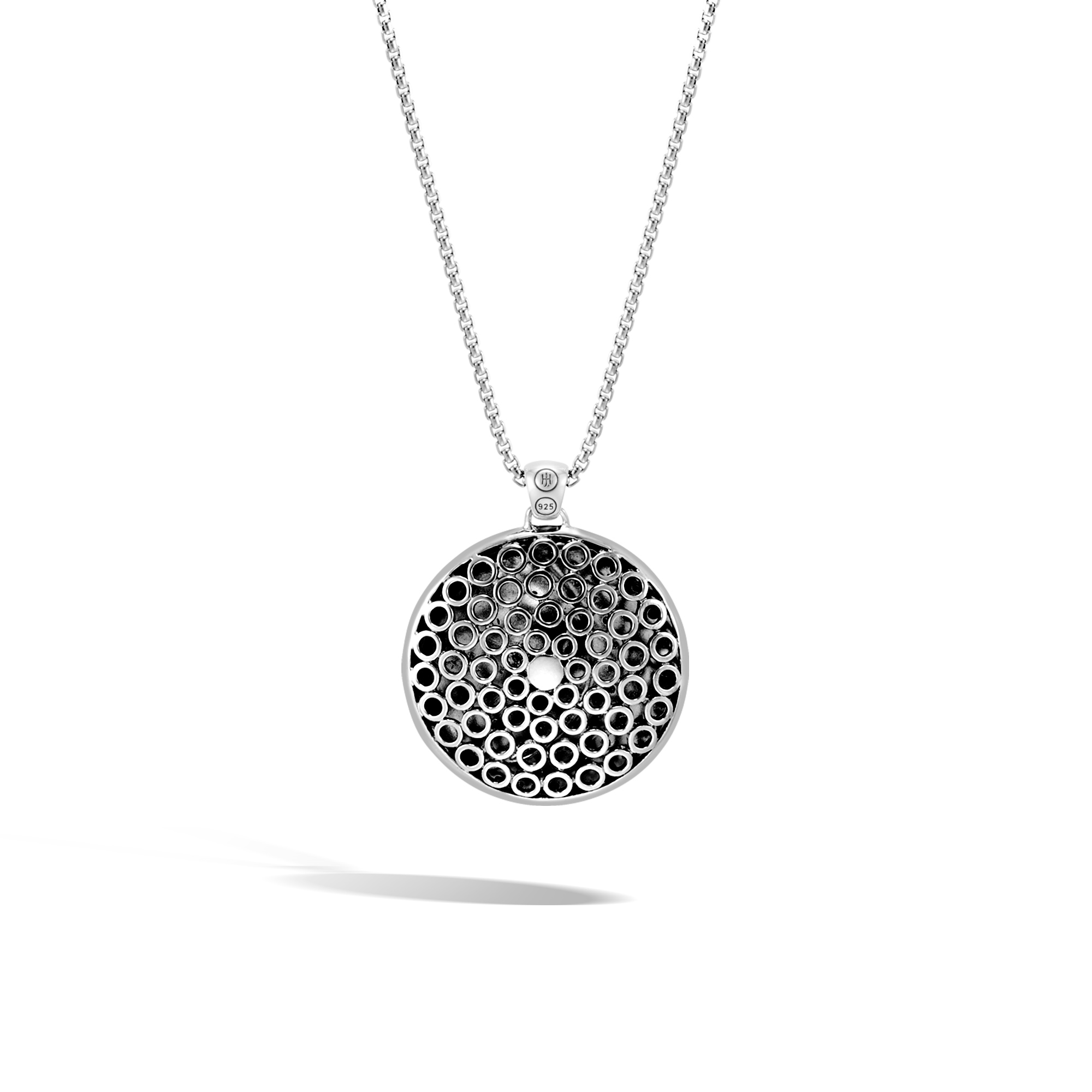 Dot Moon Phase Pendant Necklace in Hammered Silver, , large
