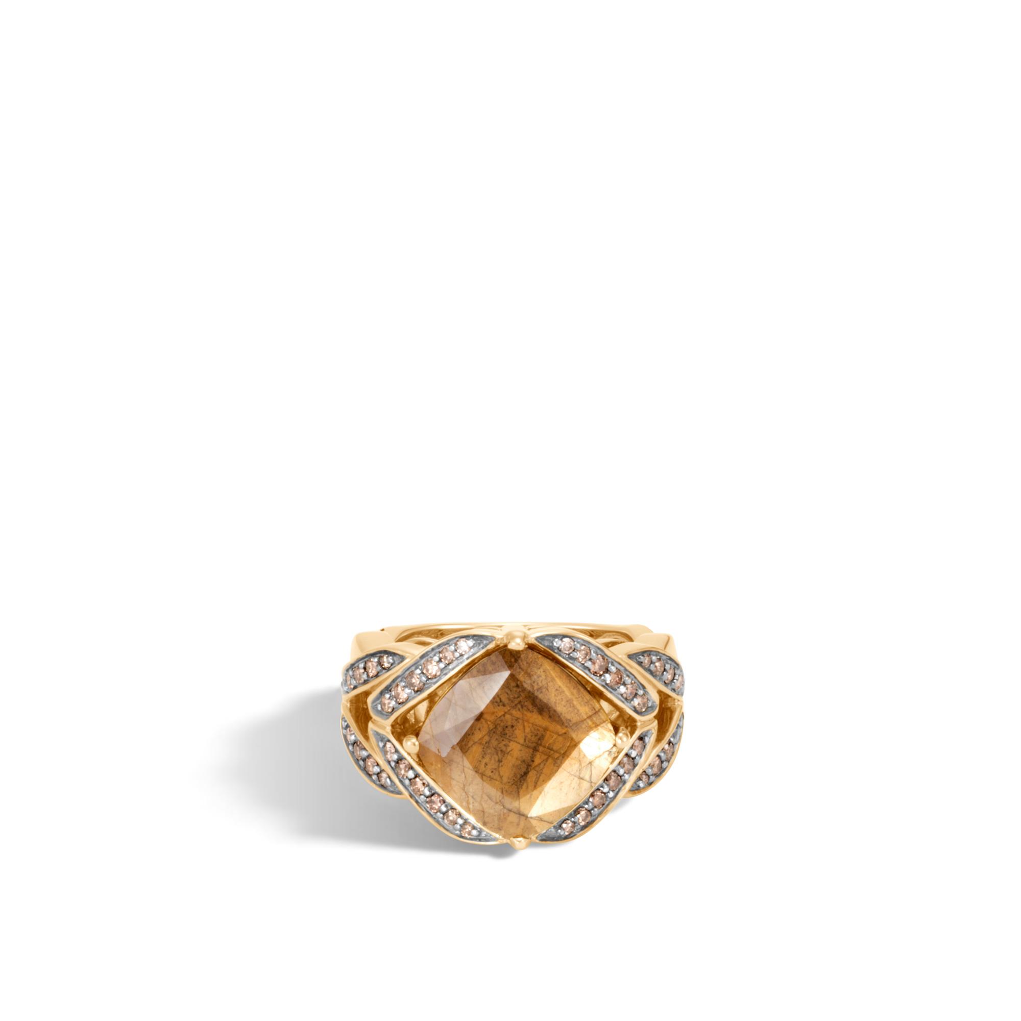 Modern Chain Magic Cut Ring, 18K Gold with Gemstone, Dia, Golden Sheen Sapphire, large