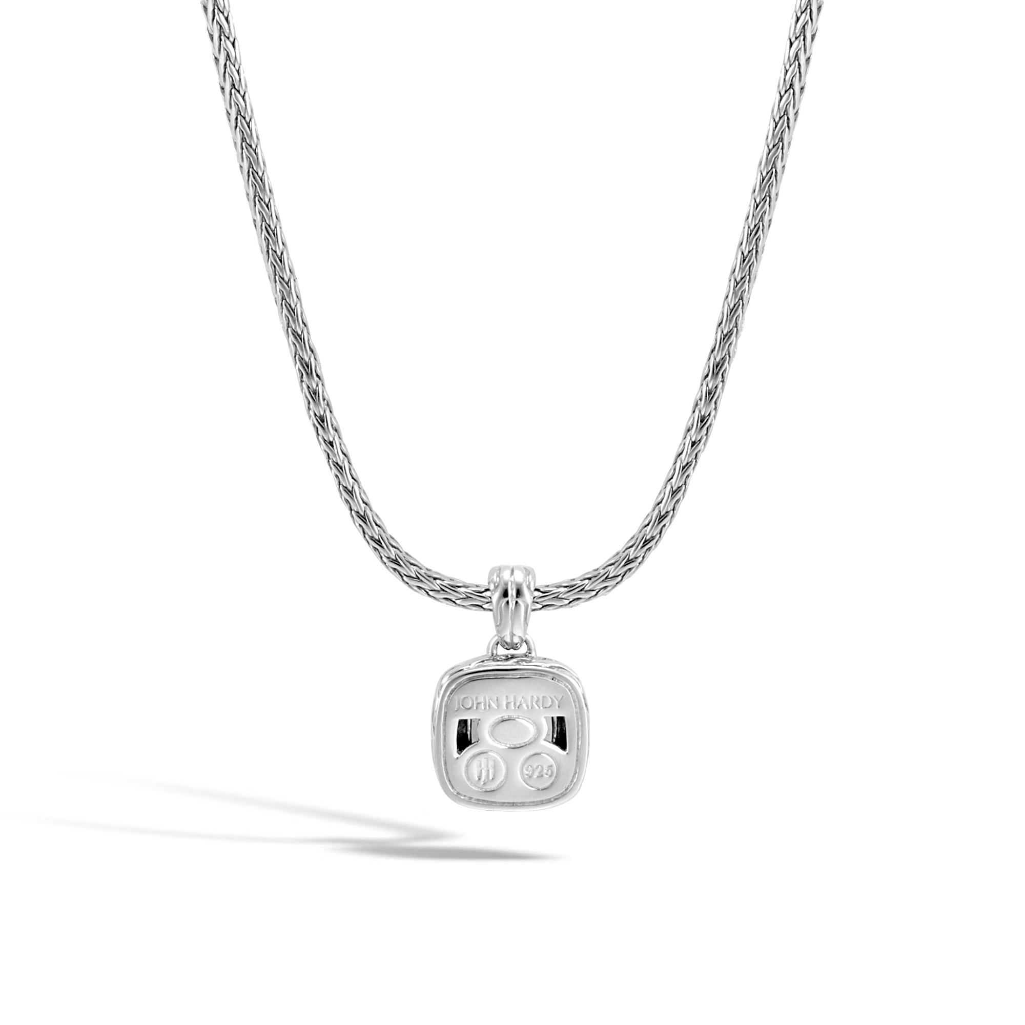 Classic Chain Magic Cut Pendant Necklace, Silver, 8MM Gem, Black Onyx, large