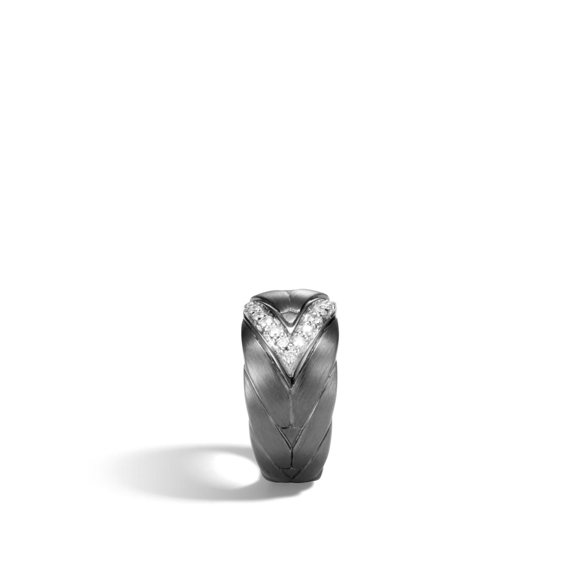 Modern Chain 12.5MM Ring in Blackened Silver, Diamonds, White Diamond, large
